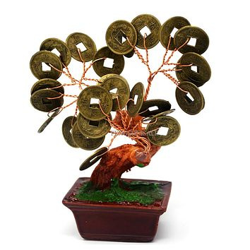 Feng Shui Natural Citrine Crystal Gem Stone Money Tree