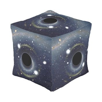 Galaxy Black hole in space Cube Pouf