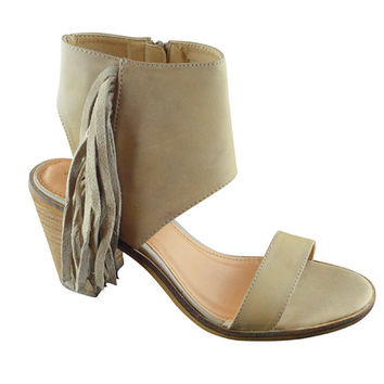 Very Volatile Vermont Taupe Fringe Ankle Cuff Sandals