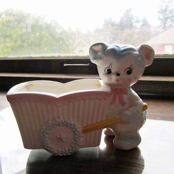 Vintage Baby Planter / Container ceramic bear and cart