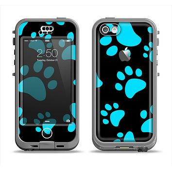 The Black & Turquoise Paw Print Apple iPhone 5c LifeProof Nuud Case Skin Set