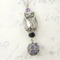 Bat Pendant Necklace - Antique Silver Purple Rhinestone Black Crystal Jewelry