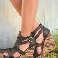 On Top Of The World Tribal Print Wedges