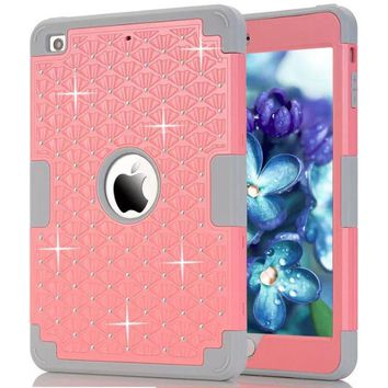 For Funda iPad Mini Case New Fashion Bling Diamond Starry Rubber PC+ Silicone Hybrid Case Cover for iPad Mini 3 2 1 Coque Capa