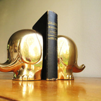 Vintage Brass Elephant Bookends, Elephant Book ends, Gold Mid Century Modern Elephant Figurines