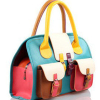 Collision Colorful Satchel(38cm*12cm*25cm)