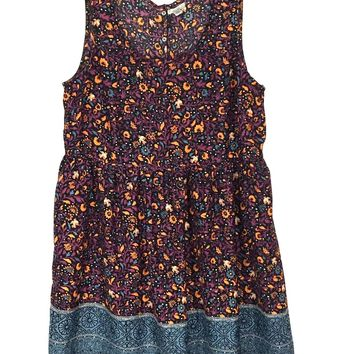 Urban Outfitters Ecote Dress Snap Open Back Floral Birds Boho Womens Medium M - Preowned