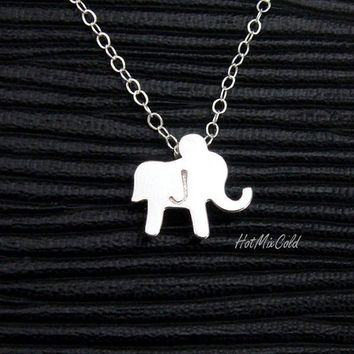 Monogram Elephant Necklace Lucky elephant Initial by hotmixcold