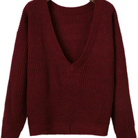 Burgundy Ribbed V Neck Sweater
