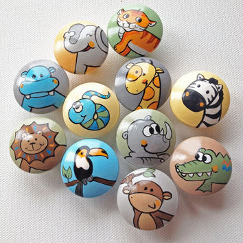 Hand Painted Animal Drawer Pulls / Dresser Knobs for Boys, Girls Rooms and Nursery Rooms (Assorted Color Background)