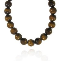 """16mm Round Tiger Eye Bead Necklace, 16+2""""Extender"""
