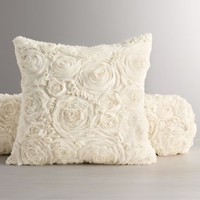 Chiffon Floral Decorative Pillow & Insert