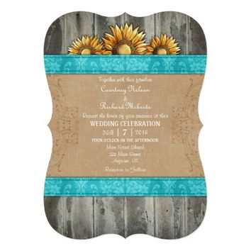 Turquoise Brown Rustic Sunflower Wedding Invite