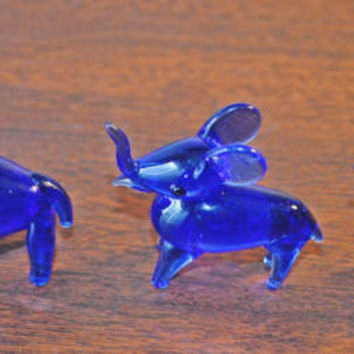 Three Miniature Elephants, Cobalt Blue Glass Elephant Figurines, Blown Glass Figurines