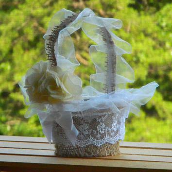 Burlap & Lace Flower Girl Basket - Rustic Wedding Decor