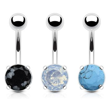 3 Pieces Value Pack of Assorted Precious Stone Prong Set WildKlass Navel Ring