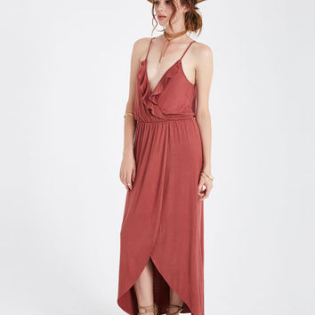 Ruffle Surplice Maxi Dress With Tulip Skirt | Wet Seal