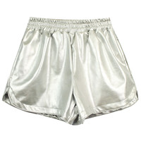 ROMWE | Double-layered Silver Fake Leather Shorts, The Latest Street Fashion