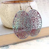 Patina Filigree Earrings Aqua Blue Earrings Big Boho Chic Earrings Rustic Purple Earrings Hippie Bohemian Summer Jewelry Long Earrings