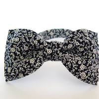 Mens bow tie by Bartek Design - groom wedding classic retro necktie chic handmade gift for him pre tied - black white small flowers