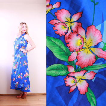 70s/80s - Blue & Pink - Tropica Floral - Hawaiian - Neck Tie - Halter - Wrap Dress - Swim Cover Up - Vacation - Resort