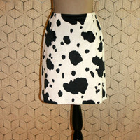 Cow Skirt Vegan Cowhide Skirt Cowgirl Western Skirt Novelty Skirt Black & White Cow Costume Halloween Size 8 Skirt Medium Womens Clothing