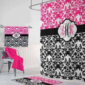 Damask SHOWER CURTAIN, Girl Hot Pink Black Shower Curtain, Girl MONOGRAM Personalized Bathroom Decor Damask Bathroom Bath Towel Bath Mat Rug