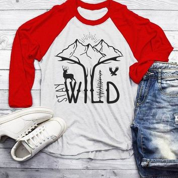 Men's Hipster Stay Wild Shirt Mountains T-Shirt Explore Antlers Graphic Tee Camping Vintage 3/4 Sleeve Raglan