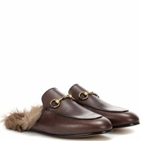 Princetown fur-lined leather slippers
