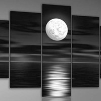 Wieco Art Sea White Full Moon in the Night 5 panels Oil Paintings Modern Canvas Wall Art for Wall Decor