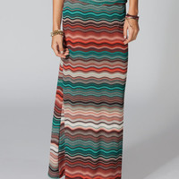 Full Tilt Waves Maxi Skirt Blue Combo  In Sizes