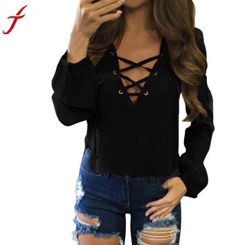 Summer Blouse Sexy Women Bandage V Neck Pullover Shirt Blouse Long Sleeve Casual Solid Black Red  Elegant Blouse Tops#LSIN