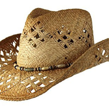 Tea Stained Straw Cowboy Hat with Beaded Trim Band, Beach Western Cowgirl Style