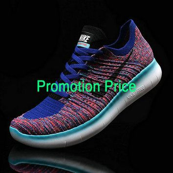trainner Mens Nike Free RN Flyknit MultiColor Royal Blue Turquoise shoe