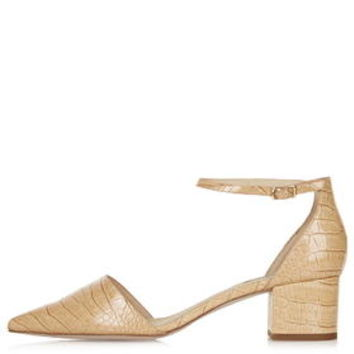 JIVE Croc-Effect Mid-Heel Shoes - Nude