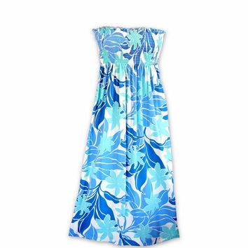 Sea Breeze Blue Maxi Hawaiian Dress