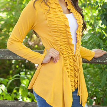 Yellow Tie Front Ruched Long Sleeve Coat