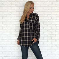 Blackout Plaid Blouse