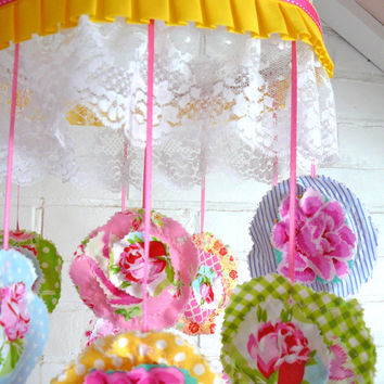 Flower Baby Mobile - Fabric Flower Mobile - Cottage Chic Mobile - Shabby Baby Chic Mobile - Baby Nursery Decor
