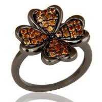 Spessartite and Oxidized Sterling Silver Flower Design Ring