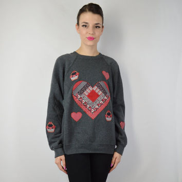 90s Glitter Heart Sweatshirt Jumper Hipster Grunge Vintage Womens Clothing LARGE Soft Grunge Preppy 1990s Puff Paint Gray Red Sparkle
