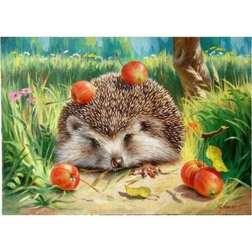 Frameless Hedgehog DIY Painting By Numbers Wall Art Picture Canvas Painting Home Decor Acrylic Paint Unique For Living Room