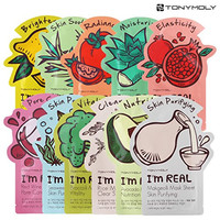 Tony Moly Korean Style Face Masks - 1x Use Sheets, Pack of 11