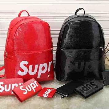 LV x Supreme Leather Backpack Travel Bag Purse Wallet Card Bag Set Four-Piece