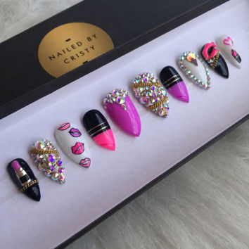 Lipstick Love Press On Nails | Stiletto or Coffin Shape | Lipstick Shaped Nails | Swarovski Crystals | Handpainted Nail Art Design