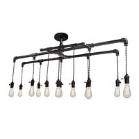 Industrial Rustic Pipe Chandelier - 12 Light