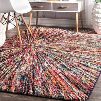Geometric Soft Abstract Rainbow Firework Area Rug Turkey