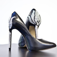 High heel- Leather pointy office heels with a swarovski tulip to the back of the heel, womens shoes, womens heels, shoes.