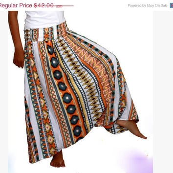 ON SALE Tribal Print Harem Pants, Aztec Harem Skirt , Long Harem Pants - Ready to Ship