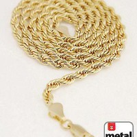 """Jewelry Kay style Men's Women's 14K Gold Plated 4mm Rope Chain Necklace 24"""" for Micro Mini Pendant"""